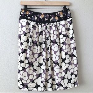 NEW ANTHROPOLOGIE Floral Embroidered Silk Skirt 6